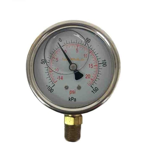 SS COMPOUND GAUGE - 100 mm, Bottom Entry x BSP 3/8 Calibrated: Kpa & PSI